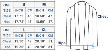 London Alpaca Cardigan Size chart