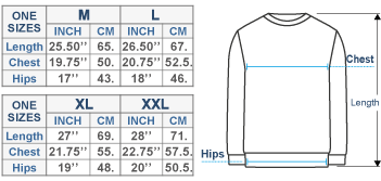 Men's Alpaca Crewneck Pullover Sweater Size chart