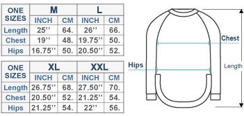 Kate Alpaca Sweater Size chart