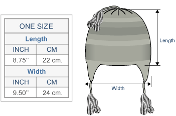Innsbruck Alpaca Hat with Ear Flaps Size chart