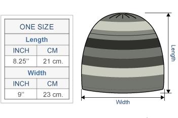 Multicolored Juliaca Hat Size chart