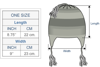 Machupicchu Alpaca Hat with Ear Flaps Size chart