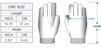Embroidered Garden Alpaca Gloves Size chart