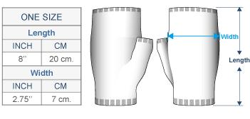 Aubrey Alpaca Knit Fingerless Gloves Size chart