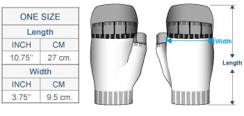 Leena Alpaca Glittens Size chart