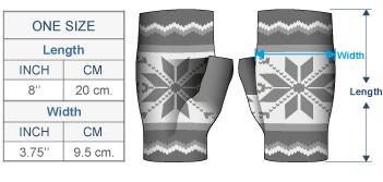 Nordic Brushed Alpaca Fingerless Gloves Size chart