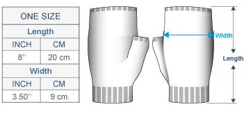 Ilave Alpaca Fingerless Gloves Size chart