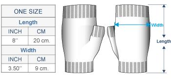 Fair Isle Alpaca Fingerless Gloves Size chart