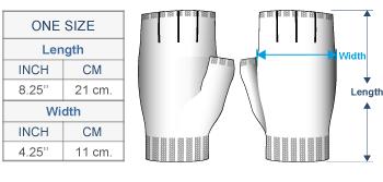 Scandinavian Winter Alpaca Reversible Half Finger Gloves Size chart