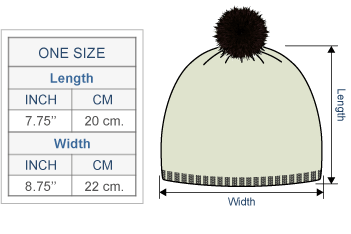 Embroidered Alpaca Autumn Leaves Hat - Fleece Lining Size chart