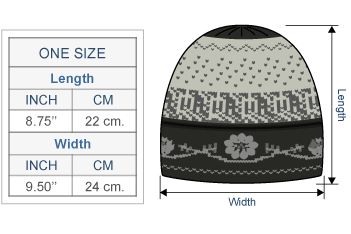 Alpaca Embroidered Leaf Hat - Fleece Lining Size chart