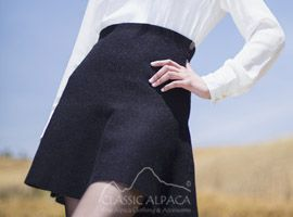 Reversible Baby Alpaca Flared Skirt