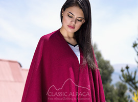 Double - Face Alpaca Knit Ruana Wrap
