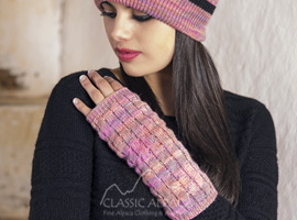 Fatima Alpaca Fingerless Gloves Long