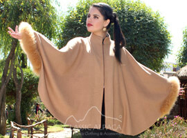 Janice Baby Alpaca Cape with Fur