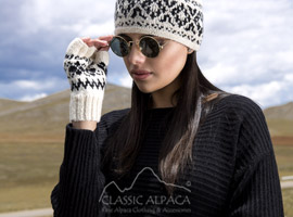Agathe Alpaca Half Finger Gloves