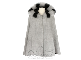 Alpaca Reversible Riding Hood Cape with Fur