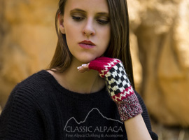 Checkboard Baby Alpaca Half Finger Gloves