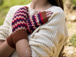 Tribal Alpaca Long Fingerless Gloves