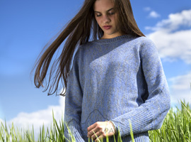 Alpaca Bat Sleeve Pullover Sweater