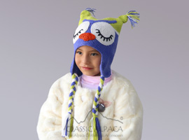 Alpaca kids - Tired Owl Hat with Ear Flaps