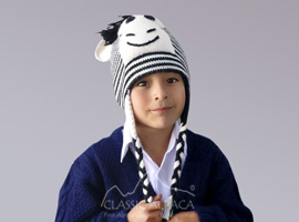 Alpaca Kids - Zebra Hat with Ear Flaps