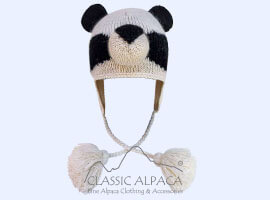 Alpaca Kids - Panda Alpaca Hat with Ear Flaps