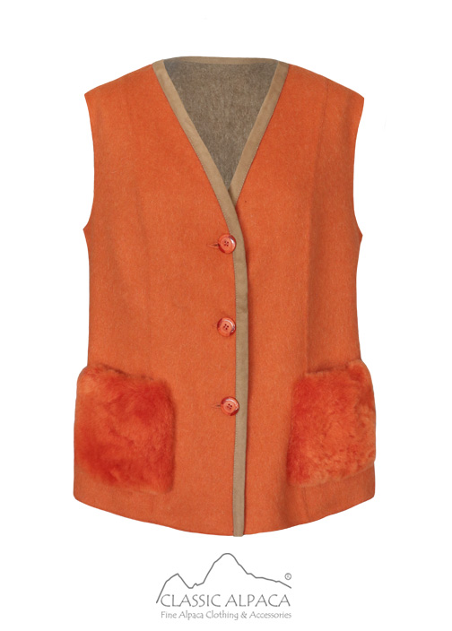 Reversible Alpaca Vest with Fur Pocket