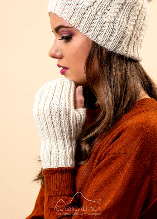 Portree Alpaca knit Fingerless Gloves