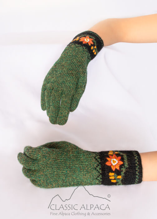 Alpaca Embroidered Leaf Gloves