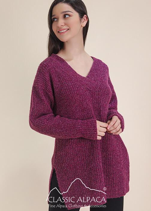 V Neck Brushed Alpaca Sweater