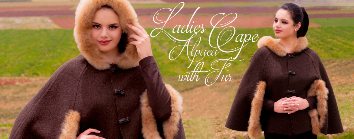 Ladies Alpaca Cape with Fur