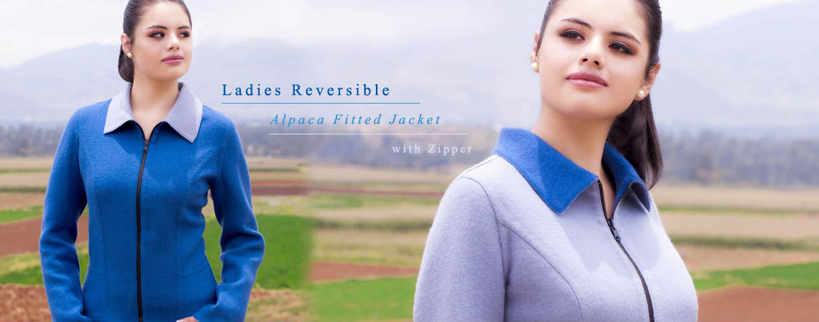 Ladies Reversible Alpaca Fitted Jacket with Zipper