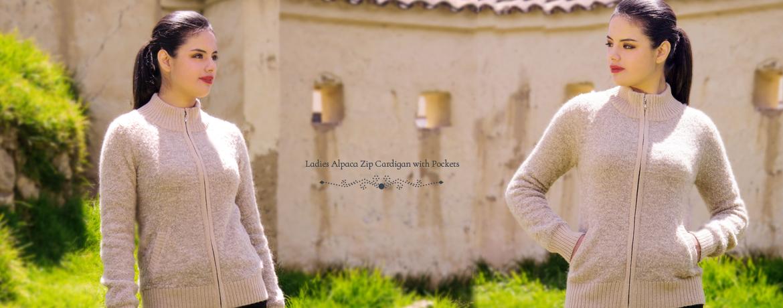 Ladies Alpaca Zip Cardigan with Pockets