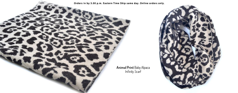 Animal Print Baby Alpaca Infinity Scarf