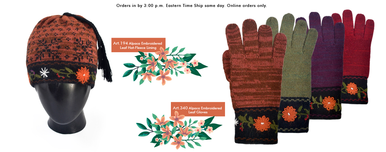 Alpaca Embroidered Leaf Gloves