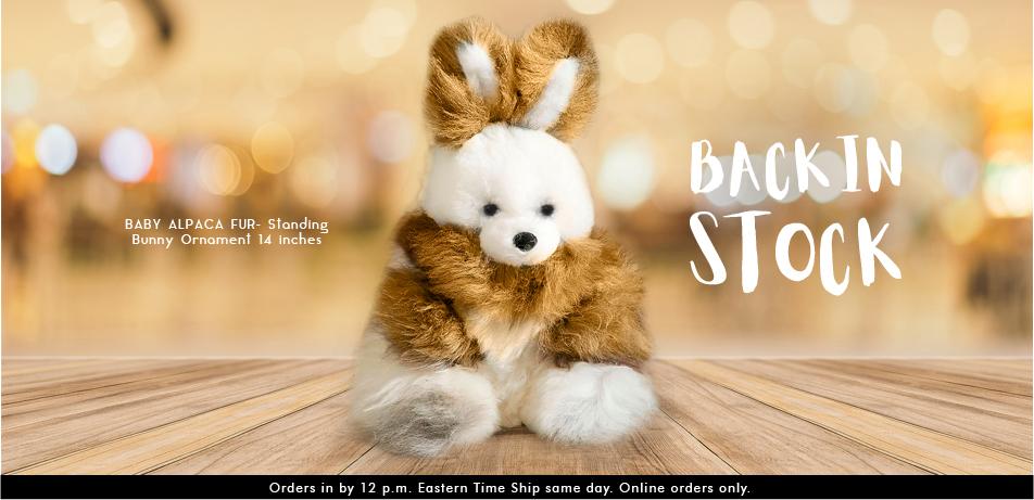 BABY ALPACA FUR- Standing Bunny Ornament 14 inches