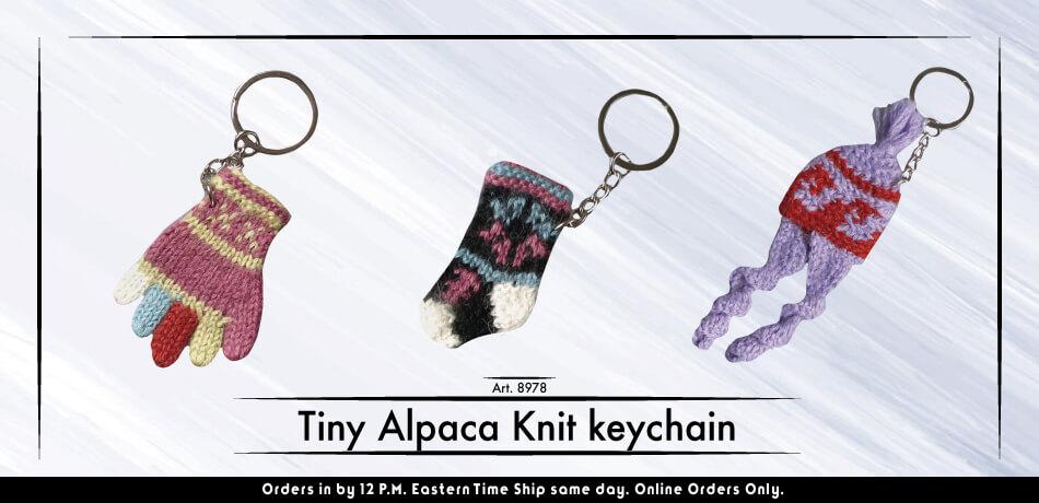 Tiny Alpaca Knit Keychain