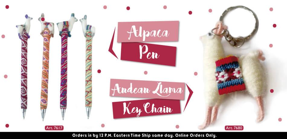 Alpaca Pen + Andean Llama KeyChain