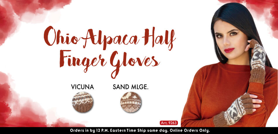Ohio Alpaca Half Finger Gloves