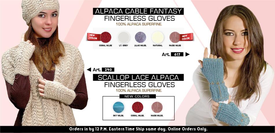 Alpaca Cable Fantasy Fingerless Gloves & Scallop Lace Alpaca