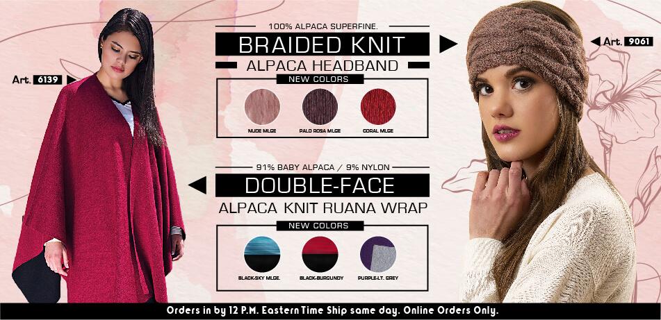 Braided Knit Alpaca Headband & Double Face Alpaca Knit Ruana Wrap