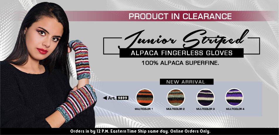 Junior Striped Alpaca Fingerless Gloves | Alpaca Clearance