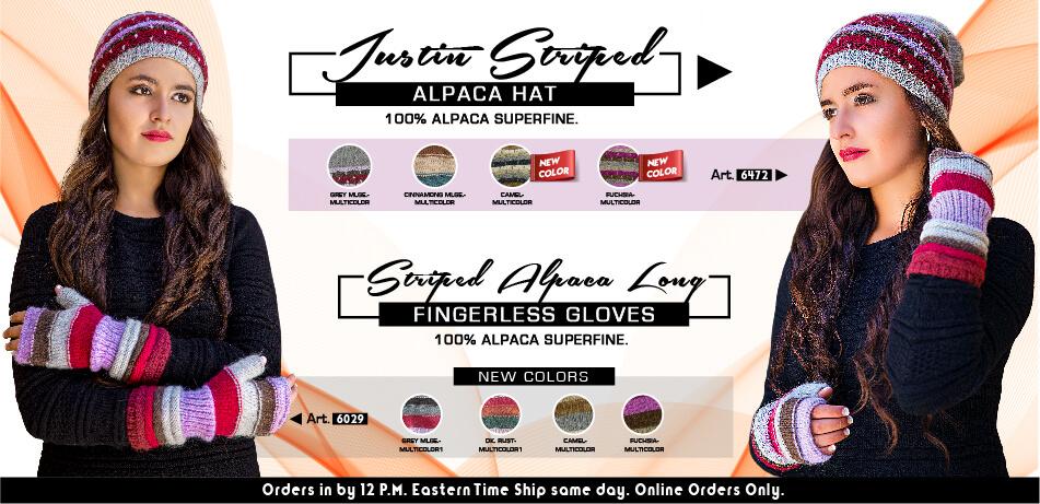 Justin Striped Alpaca Hat & Fingerless Gloves | Alpaca Accessories