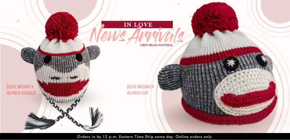 Sock Monkey Alpaca Chullo   Alpaca Hats & Chullos
