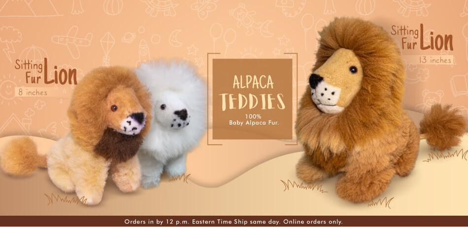 Sitting Fur Lion   Alpaca Fur Toys