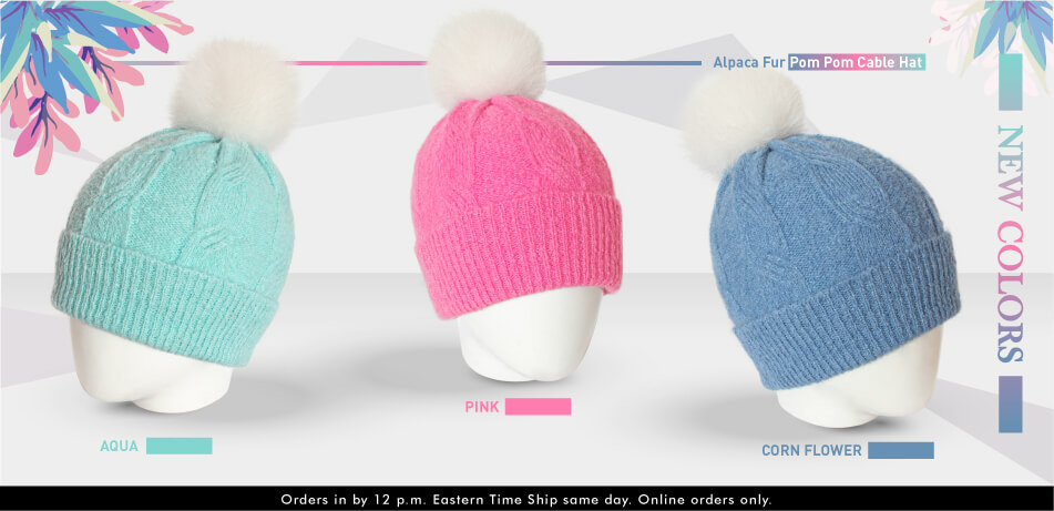 Alpaca Fur Pom Pom Cable Hat | Alpaca Accessories