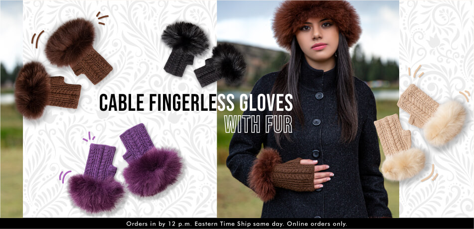 Cable Fingerless Gloves With Fur | Alpaca Accessories