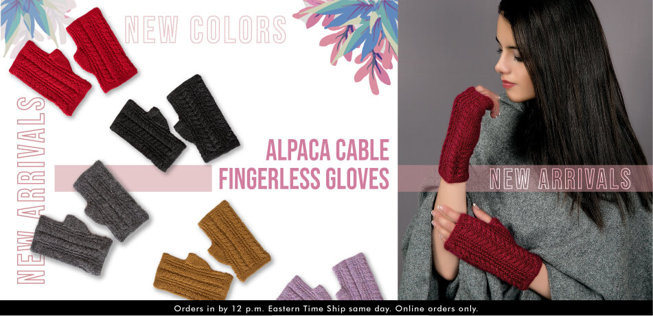 Alpaca Cable Fingerless Gloves | Alpaca Accessories