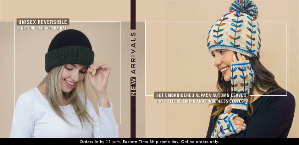 Set Embroidered Alpaca Autumn Leaves | Hat - Fleece Lining And Fingerless Gloves